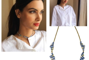 Diana Penty in Pixel necklace for Happy Bhag Jayegi Promotion
